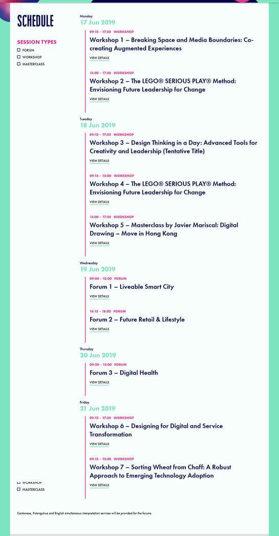 Knowledge of Design Week Conference Schedule